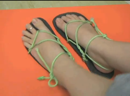 fd1f520b22a Amanda s Chaco Style Running Sandal Tying. Tie huarache running sandals  Amanda s way