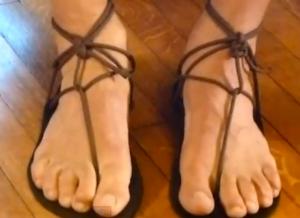 Randy Kriell's huaraches running sandal tying