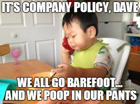 This baby means business... barefoot business