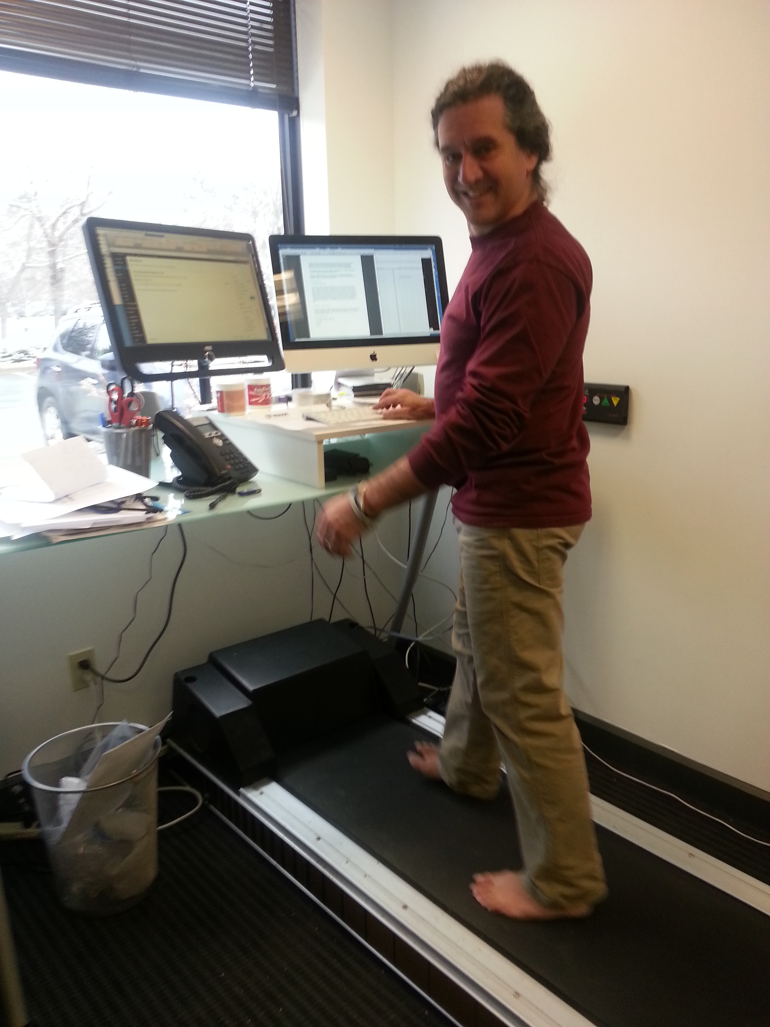 Steven Sashen, Xero Shoes CEO, at his treadmill desk