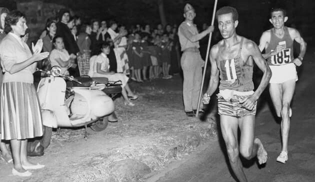 Abebe Bikila Runs Barefoot Wins Marathon